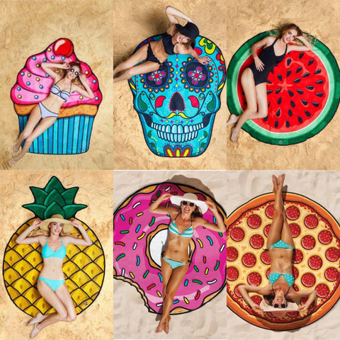 Beach Blanket - Cupcake, Donut, Pizza, Emoji, Watermelon, Pineapple, Sugar Skull