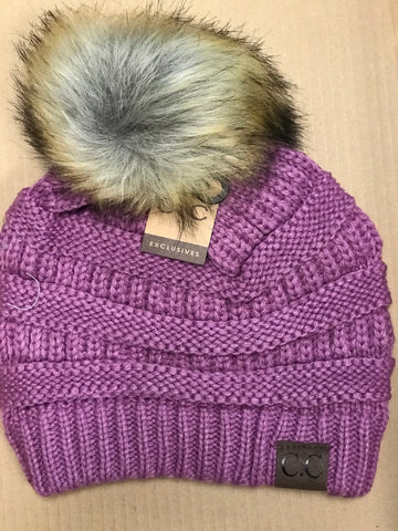 CC Beanie With Faux Fur Pom