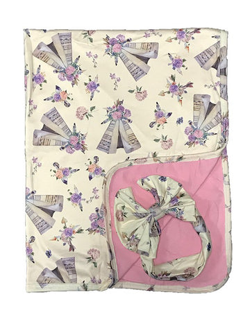 Lightweight Baby Blankets - Floral - Bull Skull- Teepee