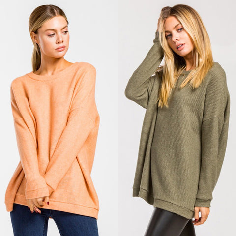Cozy Cutie Sweater in Olive or Dreamcicle