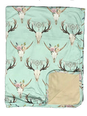 Lightweight Baby Blankets - Floral - Bull Skull- Teepee - Haute Stuff Boutique