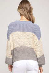 Blue & Grey Color Block Bubble Sleeve Sweater - Haute Stuff Boutique