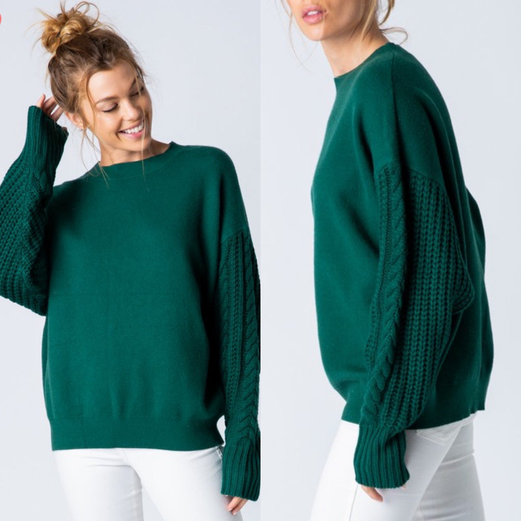 Hunter Green Sweater With Cable Knit Sleeves - Haute Stuff Boutique