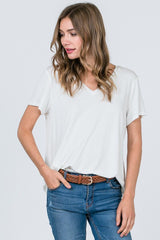 Basically Fabulous Short Sleeve Top in Heather Ivory - Haute Stuff Boutique