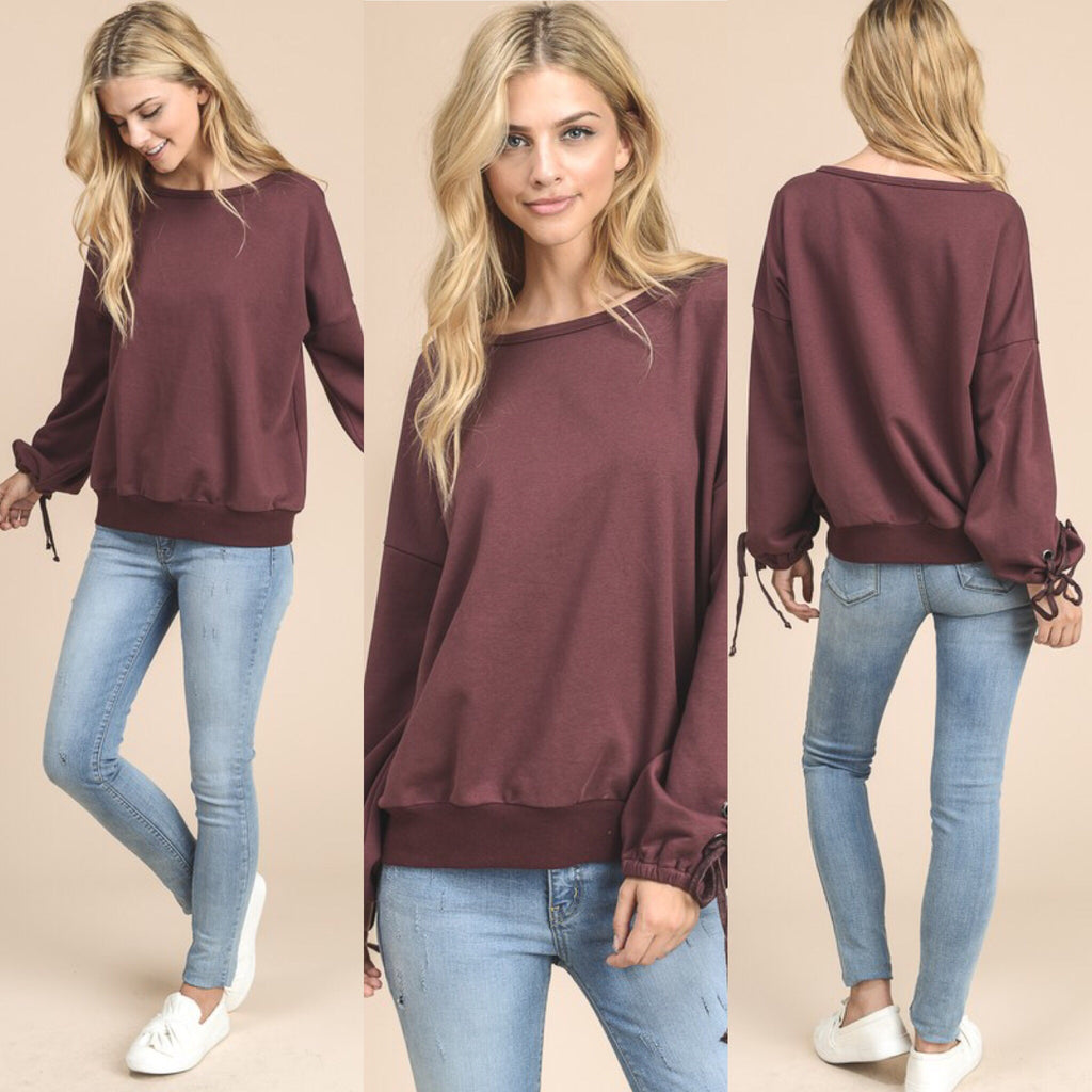 Burgundy Pullover Sweatshirt With Tie Sleeves - Haute Stuff Boutique