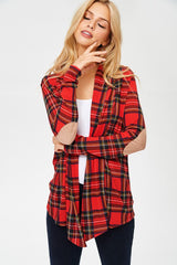 Red Tartan Plaid Elbow Patch Cardigan (Regular & Plus Size) - Haute Stuff Boutique