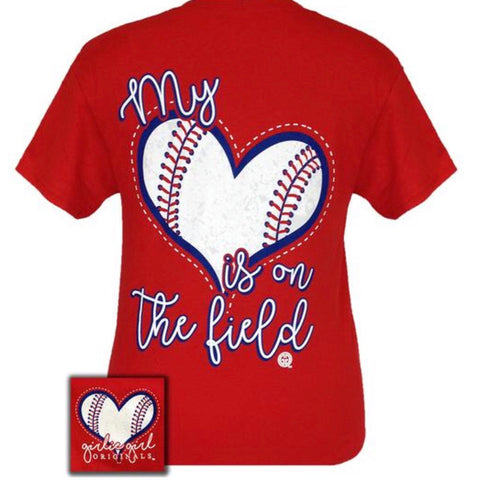My Heart Is On The Field Baseball Tee