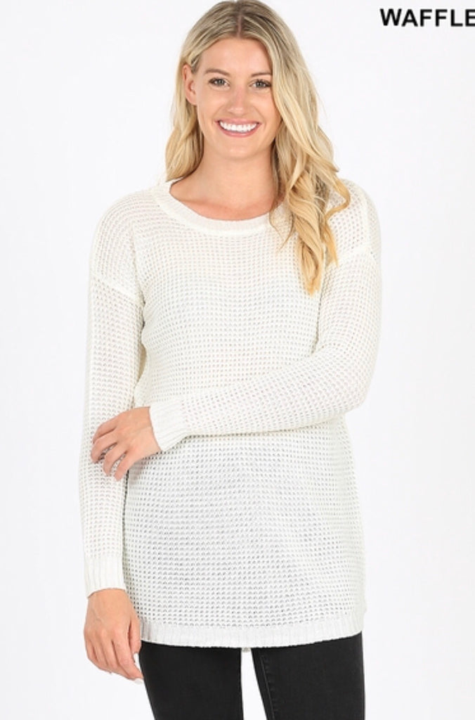 Hi-Low Waffle Sweater in Ivory - Haute Stuff Boutique