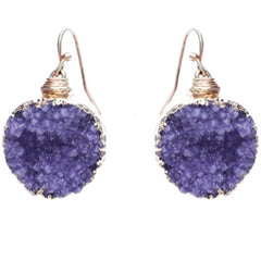 Round Druzy Dangle Earrings - Haute Stuff Boutique
