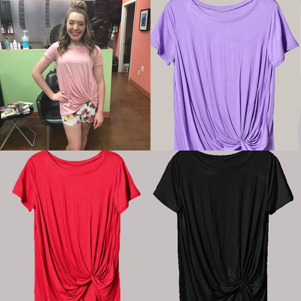 Feeling Knotty - Short Sleeve Knot Detail Top - Multiple Colors - Haute Stuff Boutique