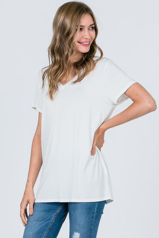 Basically Fabulous Short Sleeve Top in Heather Ivory