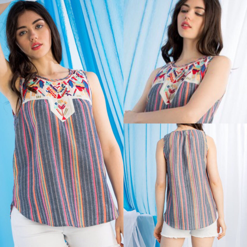 Fiesta Multi Color Striped Sleeveless Top - Haute Stuff Boutique