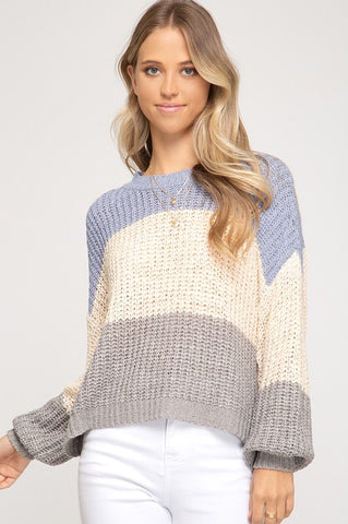 Blue & Grey Color Block Bubble Sleeve Sweater