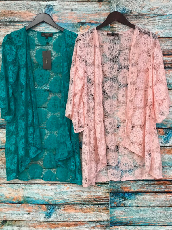 Lace Kimono In Teal - Haute Stuff Boutique