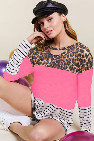 Leopard, Neon Pink & Striped Color Block Choker Top