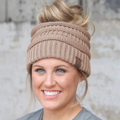 C.C. Messy Bun Beanies - Haute Stuff Boutique