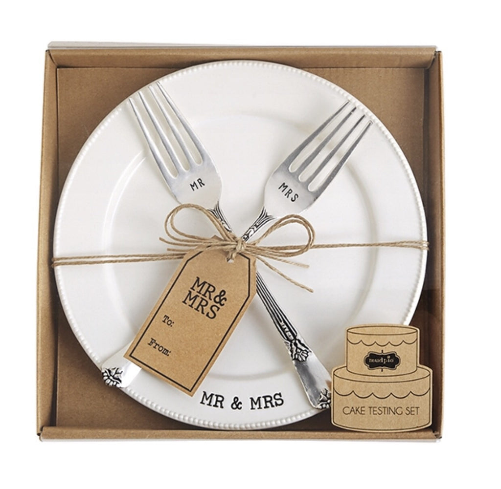 Mud Pie Wedding Collection Mr. & Mrs. Cake Testing Plate with 2 Forks - Haute Stuff Boutique