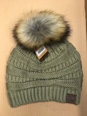 CC Beanie With Faux Fur Pom - Haute Stuff Boutique