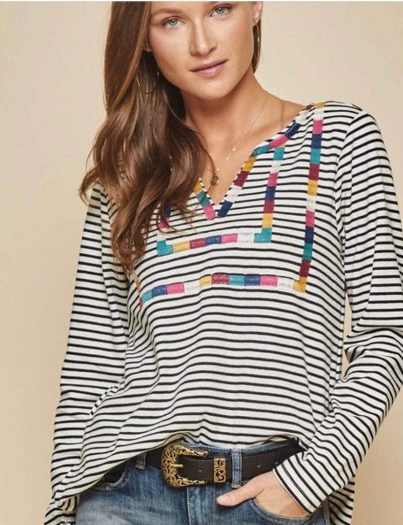 Black & White Stripe Long Top With Embroidery Detail - Regular & Plus Size - Haute Stuff Boutique