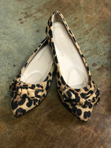 Leopard Ballerina Flats With Bow Detail -