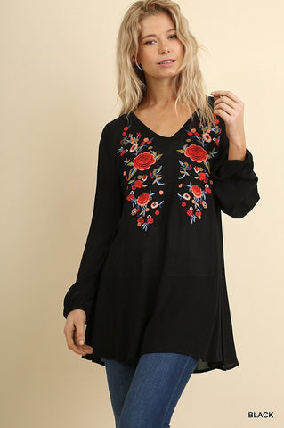 Love Song Floral Embroidered Tunic