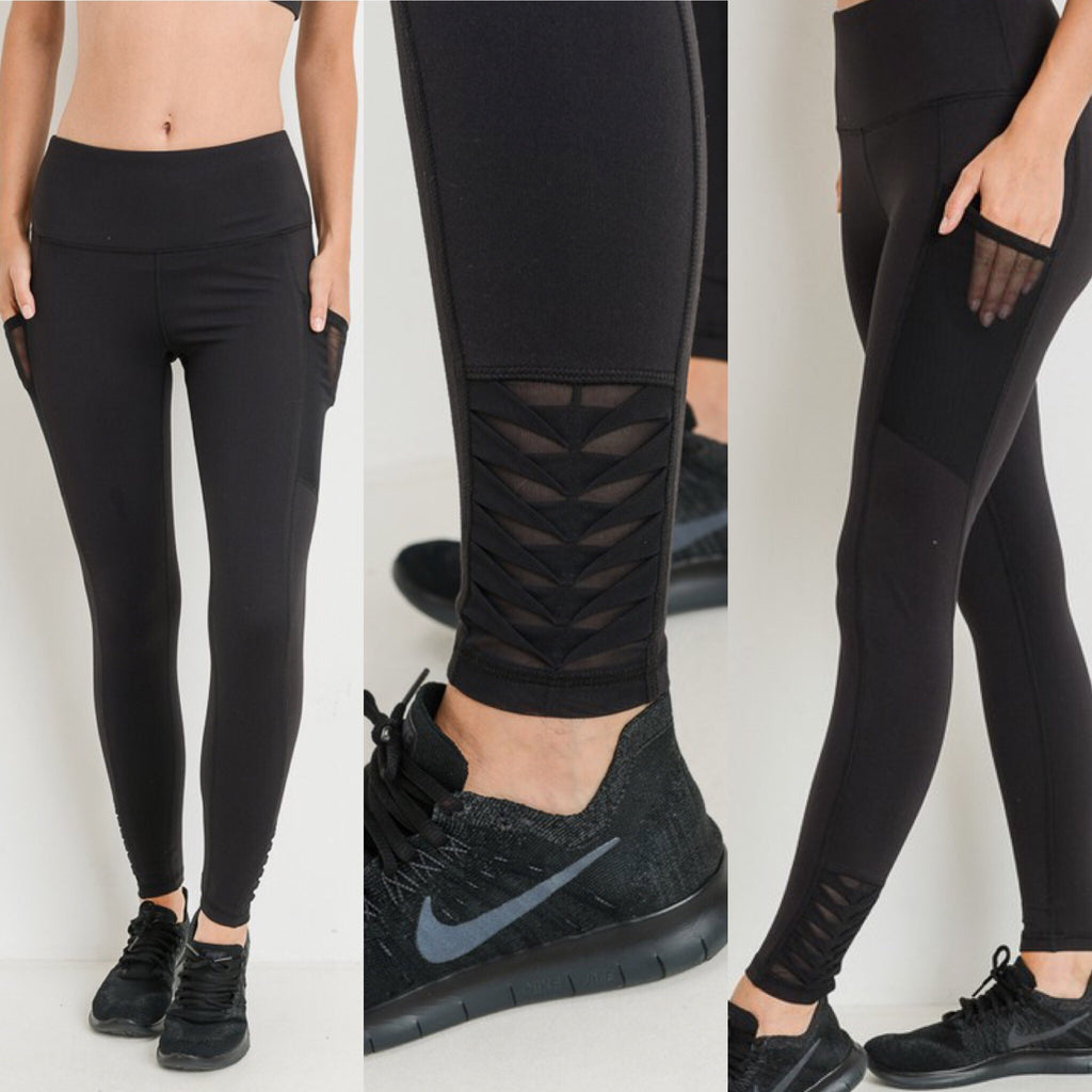 High Waist Full Leggings With Side Pockets & Ankle Detail - Regular & Plus Size - Haute Stuff Boutique