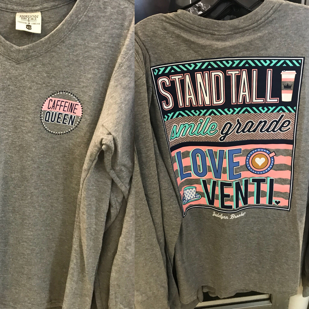 Jadelynn Brooke - Stand Tall, Smile Grande, Love Venti Long Sleeve V-Neck Tee - Haute Stuff Boutique