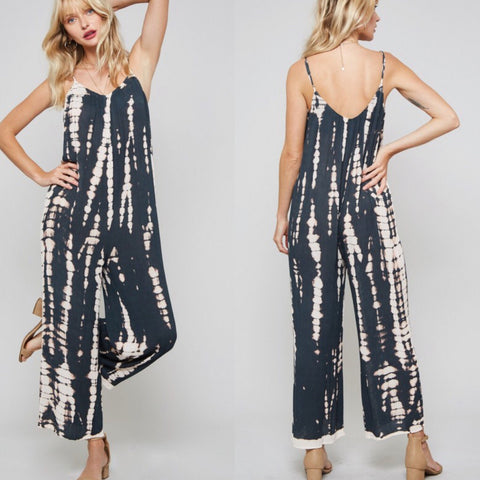 Tie Dye Wide Leg Cami Jumpsuit In Charcoal