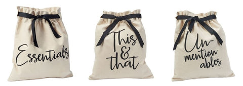 Mud Pie Canvas Travel Bags Essentials, This & That, Unmentionables