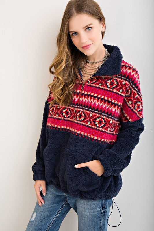 Fuzzy Wuzzy Tribal Print Quarter Zip Pullover in Navy - Haute Stuff Boutique