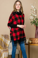 Red & Black Buffalo Plaid Poncho - Regular & Plus Size - Haute Stuff Boutique