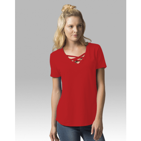 Gretchen Solid Criss Cross Neck Tee - Haute Stuff Boutique