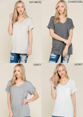 Solid Gold V-Neck Tee - Haute Stuff Boutique