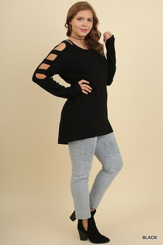 Dauntless Cutout Sleeve Sweater in Black - Plus Size - Haute Stuff Boutique