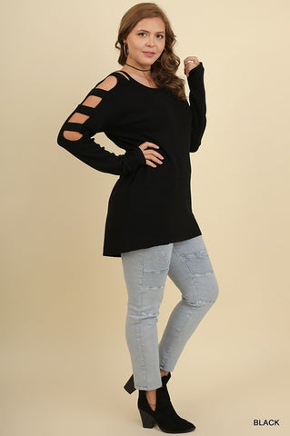 Dauntless Cutout Sleeve Sweater in Black - Plus Size