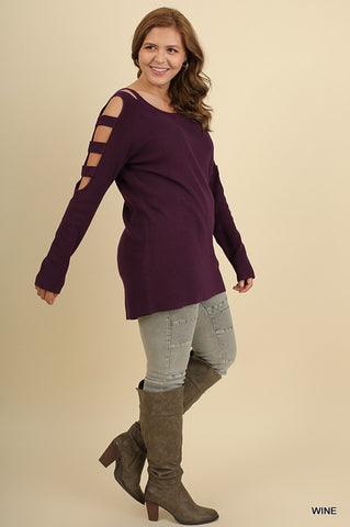 Dauntless Cutout Sleeve Sweater in Wine - Plus Size
