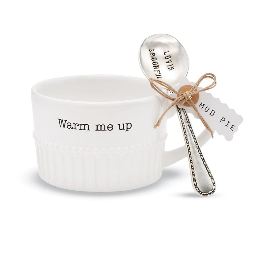 Mud Pie Ceramic Chili / Soup Bowl & Spoon Set - Warm Me Up - Chilly Willy - Hot Stuff - Haute Stuff Boutique