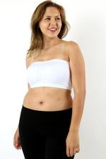 Plus Size Seamless Padded Bandeau in Black Or White - Haute Stuff Boutique