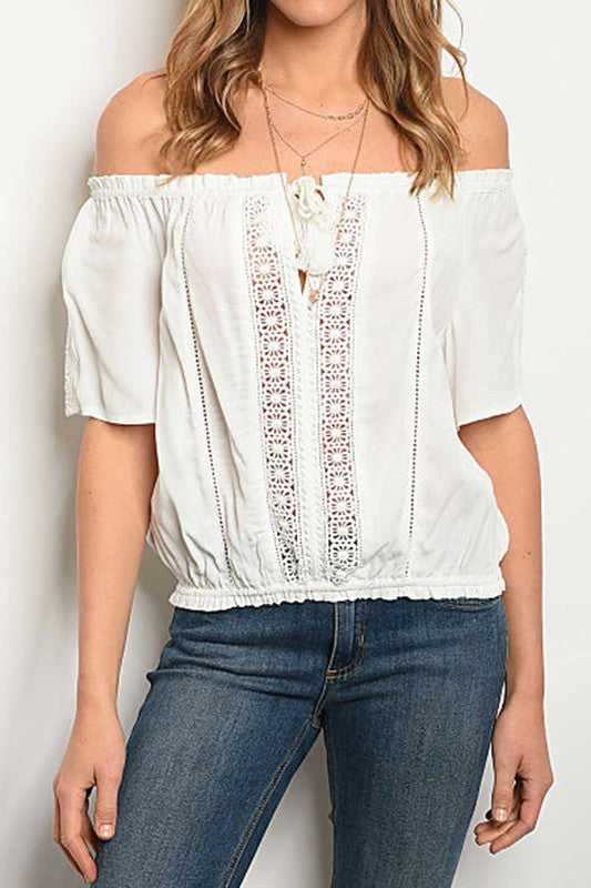 Jasmine White Off The Shoulder Top With Crochet Detail - Haute Stuff Boutique