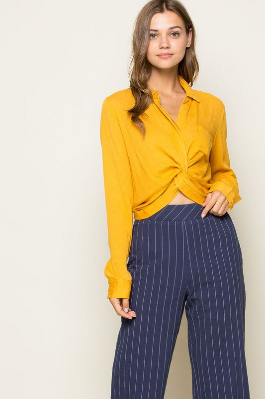 Yellow Button Down Shirt With Twisted Front - Haute Stuff Boutique