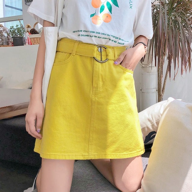 Candy Color Summer A-Line Jeans Skirt Women Belt Casual