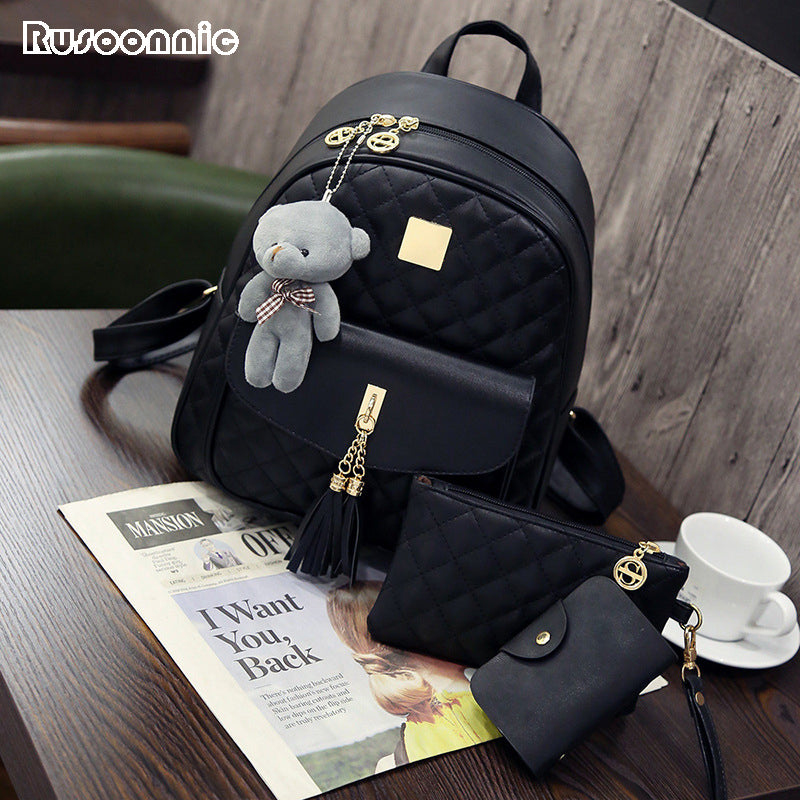 Rusoonnic Women Composite Bag High Quality Pu Leather Backpack
