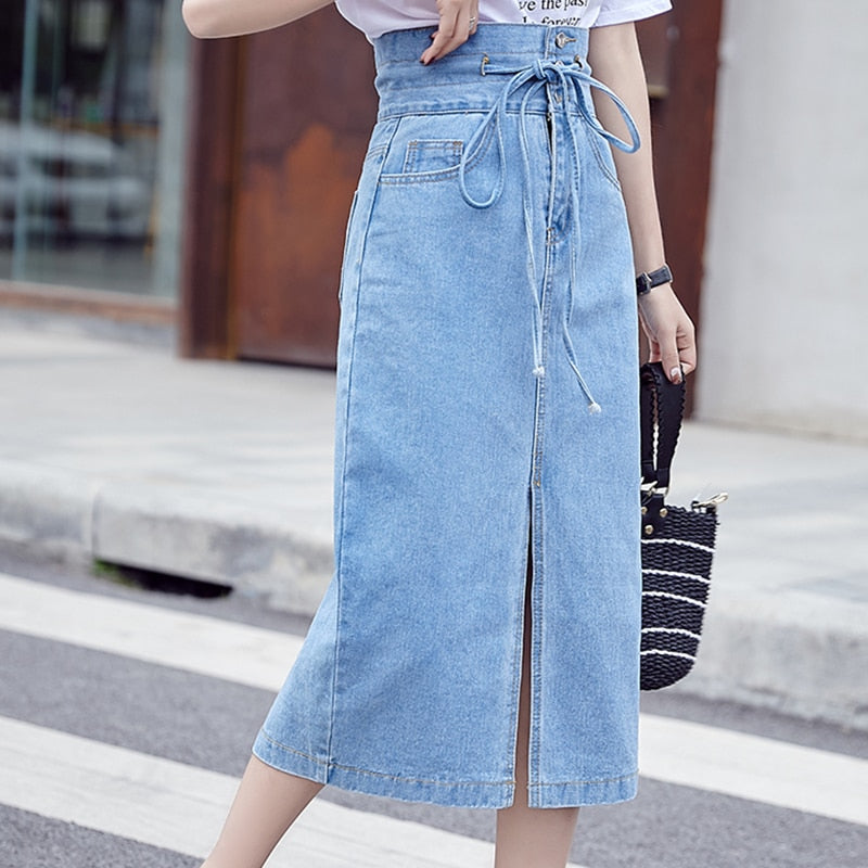Pocket Mid-Calf Length High Waist Pencil Jeans Skirt