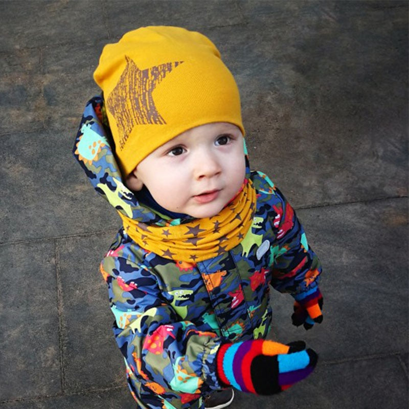 Winter Spring Baby Hat Scarf Set Cotton Baby Boy Girl Hat