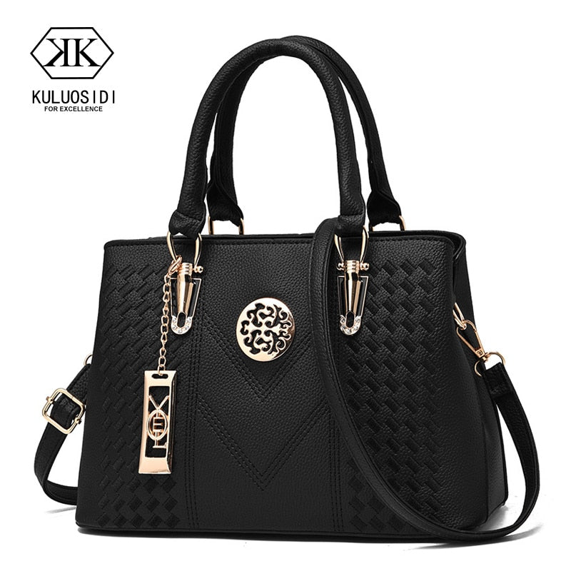 Embroidery Messenger Bags Women Leather Handbag