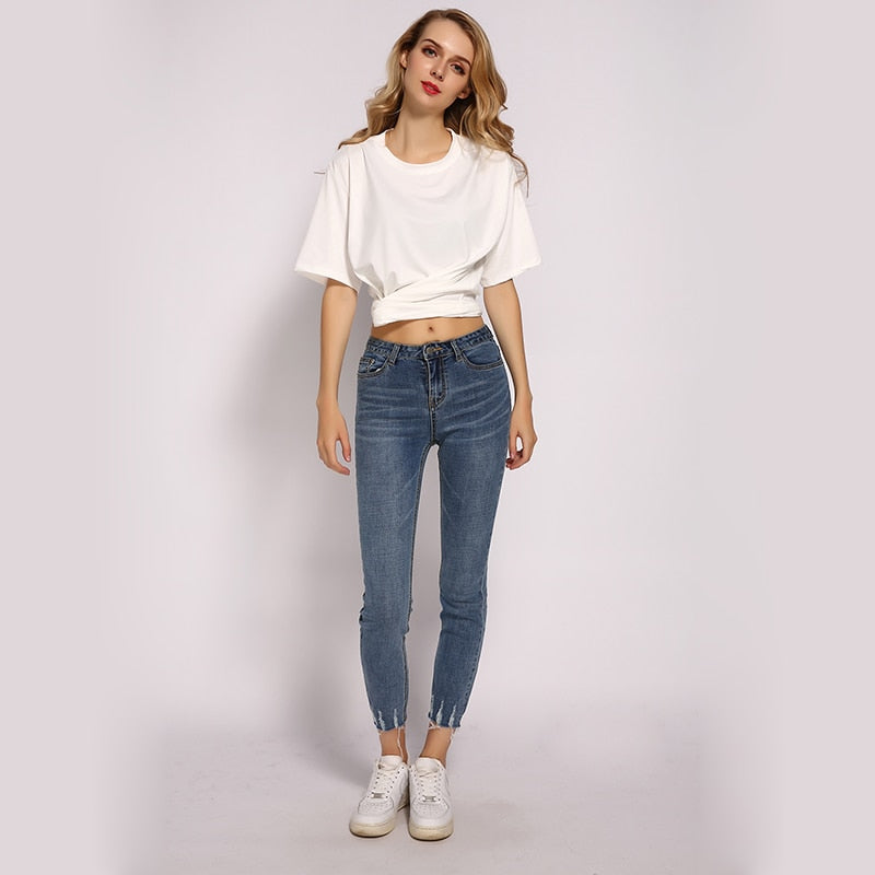 Woman Scratched Ripped Jean Slim High Waist Pencil