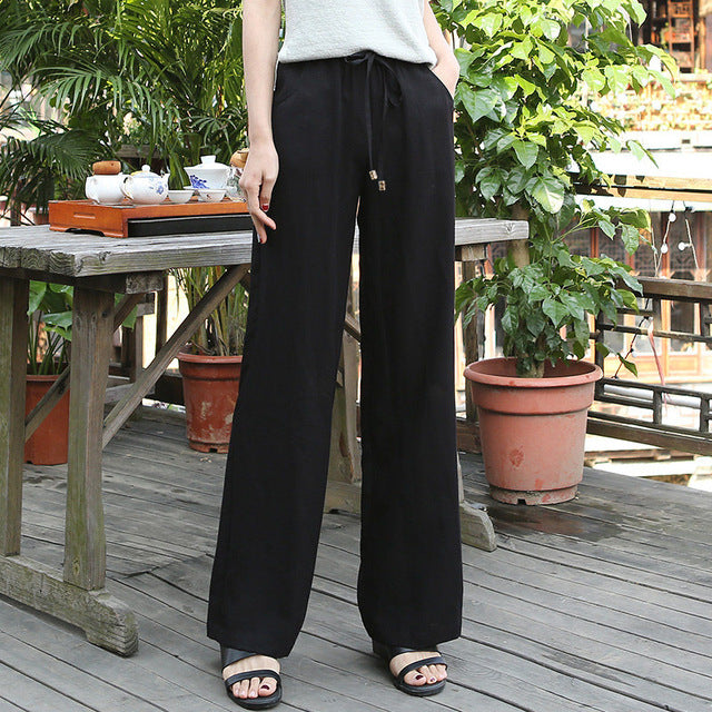Cotton Linen Pants for Women Trousers Loose Casual