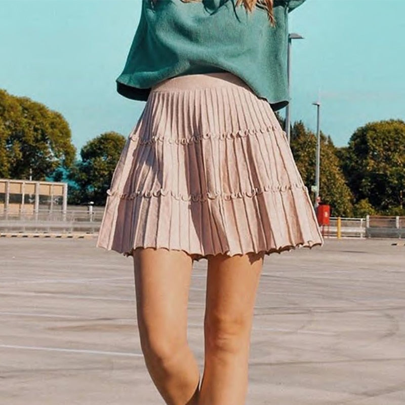 Turmeric female Elegant knitted skirt 2019 Autumn