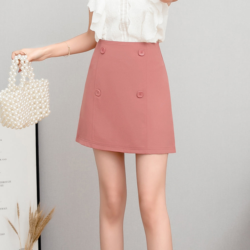 Spring Autumn Short Button High Waist Skirt Women