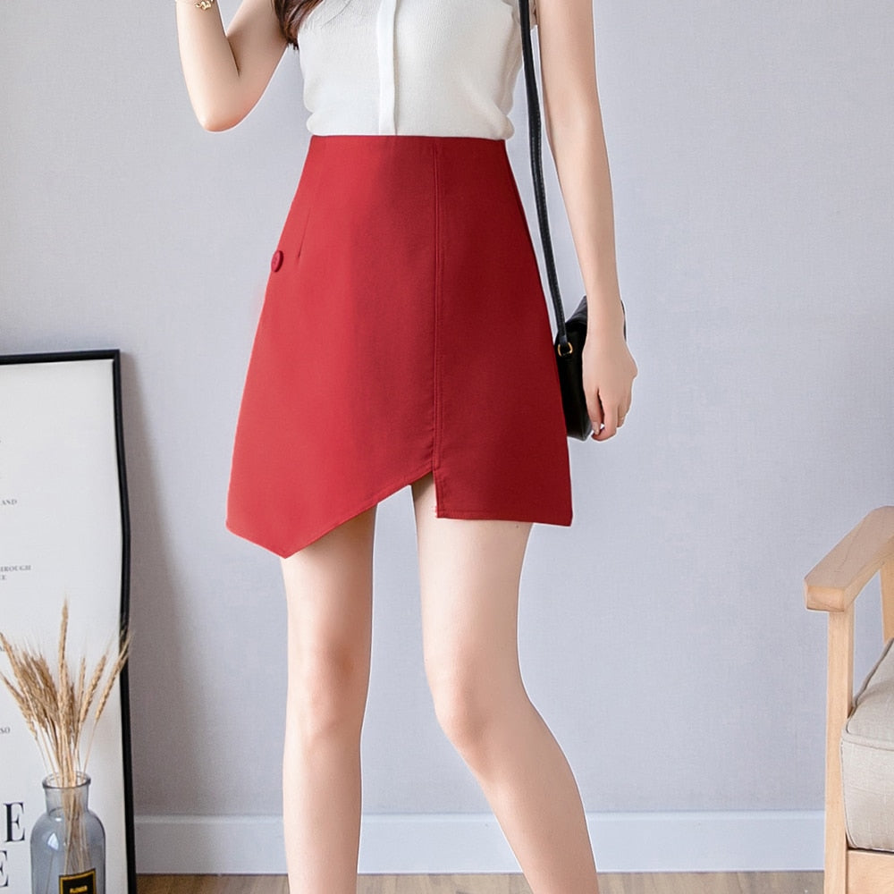 Womens High Waist Mini Skirt 2019 Summer Irregular